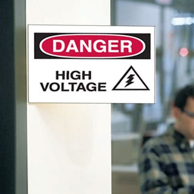 3-Way View Safety Signs - Danger - High Voltage