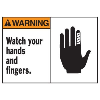 Warning Watch Your Hands Equipment Decal