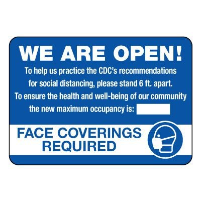 We Are Open Maximum Occupancy Sign