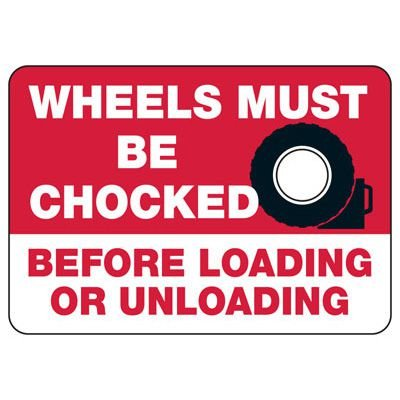 Wheels Must Be Chocked (Graphic) - Wheel Chock Signs