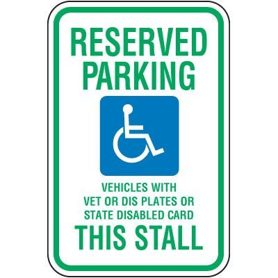 Wisconsin State Handicap Signs - Reserved Parking This Stall