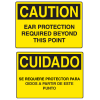 OSHA Caution Signs - Ear Protection Required - English or Spanish
