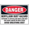 Danger Beryllium Dust Hazard Labels
