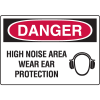 Danger Signs - High Noise Area Wear Ear Protection