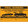 Parking Control Labels - Final Warning Vehicle Is Illegally Parked