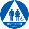 California Code ADA RestRoom Signs - Blue