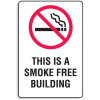 "Plastic This Is A Smoke Free Building Signs w/Graphic - 6""W x 9""H"