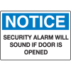 Extra Large Restricted Area Signs - Notice Security Alarm Will Sound