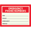 Photoluminescent First Aid Sign - Emergency Phone Numbers