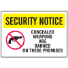 Gun Prohibition Signs - Banned On Premises