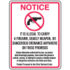Gun Prohibition Signs - Illegal