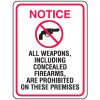 Gun Prohibition Signs - Concealed Firearms