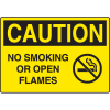 Harsh Condition OSHA Signs - Caution No Smoking/Open Flames (w/ Symbol)