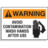 Hazard Warning Labels - Warning Avoid Contamination Wash Hands
