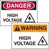 Danger or Warning High Voltage Labels (With Graphic)