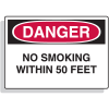 Fiberglass OSHA Sign - Danger - No Smoking Within 50 Feet