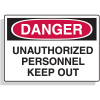 Fiberglass OSHA Sign - Danger - Unauthorized Personnel Keep Out