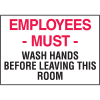 Housekeeping Labels - Employees Must Wash Hands