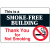 "This Is A Smoke-Free Building - 10W x 7""H Interior Signs"