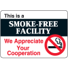 "This Is A Smoke-Free Facility - 10""W x 7""H Interior Signs"