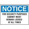 Notice Security Key Control Signs