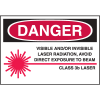 Laser Equipment Warning Labels - Danger Class 3B Laser