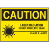Laser Equipment Warning Labels - Caution Laser Radiation