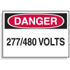 Lockout Hazard Warning Labels- Danger 277/480 Volts