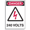 Lockout Hazard Warning Labels- Danger 240 Volts w/ Graphic