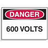 Lockout Hazard Warning Labels- Danger 600 Volts