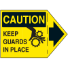 Machine Safety Arrow Labels - Caution Keep Guards In Place