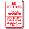 No Loitering Signs - Bilingual
