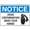 OSHA Notice Signs - Notice Avoid Contamination Wash Your Hands