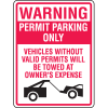 Parking Permit Signs - Valid Permits Only