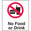 Polished Plastic Office Signs - No Food or Drink