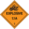DOT Explosive 1.1A Hazard Class 1 Material Shipping Labels