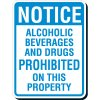 Reflective Parking Lot Signs - Notice Alcoholic Beverages Drugs Prohibited