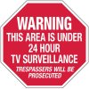 Warning This Area Is Under 24 Hour TV Surveillance No Admittance Stop Signs