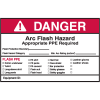 Self Laminating Arc Flash Labels- DANGER Arc Flash Hazard Appropriate PPE Required