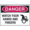 High Performance SetonUltraTuff™ Polyester Labels - Danger Watch Your Hands And Fingers