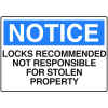 Locker Signs - Locks Recommended Not Responsible For Stolen Property