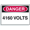 Lockout Hazard Warning Labels- Danger 4160 Volts