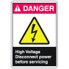 ANSI Z535 Safety Labels - Danger High Voltage