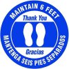 Bilingual Floor Safety Signs - Maintain 6 Feet - Blue