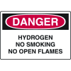 Danger Signs - Hydrogen No Smoking No Open Flames