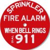 Brooks Sprinkler Fire Alarm When Bell Rings Dial 911 Alarm Sign RP251