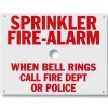 Brooks Sprinkler Fire-Alarm When Bell Rings Call Fire Dept or Police Sign A165
