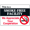 """This Is A Smoke-Free Facility - 10""""W x 7""""H Interior Signs"""