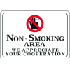 "Non-Smoking Area - 10""W x 7""H Decor Signs"