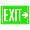 Exit Sign With Right Arrow - Glow-In-The-Dark Polished Green Sign